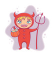 little boy in halloween devil costume laughing vector image vector image