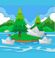 paper boats floating on the lake vector image