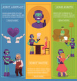 robots in life infographics posters set vector image vector image
