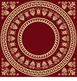round Greek ornament Meander and floral pattern vector image vector image