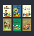 set happy fathers day greeting card dad fun with vector image vector image