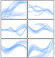 Set of blue abstract waves vector image vector image