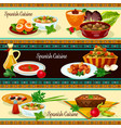 spanish cuisine banner set with traditional food vector image vector image