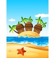 Three huts on the island vector image vector image