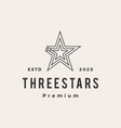 three stars hipster vintage logo icon vector image vector image