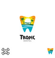 tropic tooth dental cartoon set vector image