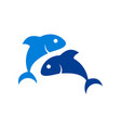 two fish logo icon vector image vector image