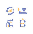 update data contactless payment and smile icons vector image vector image