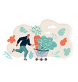 vegetables in basket man run vector image