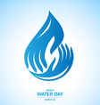 water drop in hand logo design for world day vector image