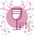 wine cup over purples rounds background vector image vector image