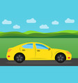 yellow sports car vector image vector image