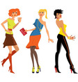 Three young women at the party vector image