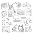 School supplies sketches for education design vector image