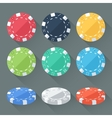 Set of colorful gambling chips casino tokens vector image
