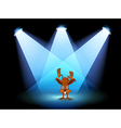 A bunny performing on a stage under the spotlights vector image vector image