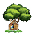 A young girl playing outside the house vector image vector image