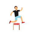 active teen boy jumping hurdle boy doing sport vector image vector image