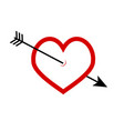 arrow in heart icon vector image