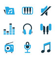 audio icons colored set with tuner music vector image vector image