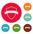 badge element icons circle set vector image vector image