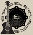 banner for music festival with speaker and guitar vector image vector image