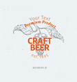 Beer logo template hand drawn hop branch