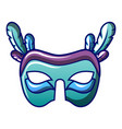 blue green carnival mask icon cartoon style vector image vector image
