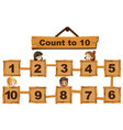 children and numbers one to ten on wooden boards vector image vector image