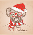christmas hipster fashion animal koala vector image vector image