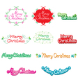 Christmas Text Lettering Design Set vector image