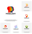 collection colorful mind logo head intelligence vector image vector image