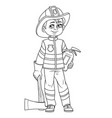 cute boy in firefighter suit in helmet with an ax vector image vector image