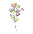 cute flower with leafs pattern vector image