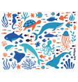 doodle underwater animals ocean creatures hand vector image