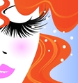face of red-haired girl vector image vector image
