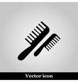 Flat comb icon on grey background vector image vector image