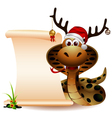 funny christmas snake with blank sign vector image vector image