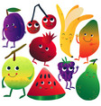 funny fruits cartoon characters with funny faces vector image vector image