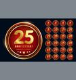 golden circular anniversary labels set vector image vector image
