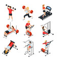 gym isometric set vector image vector image