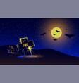 halloween night banner with neon graveyard view vector image