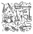 hand drawn set music instruments ink style vector image vector image