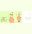 happy birthday postcard holiday card with cute vector image vector image