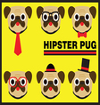 Hipster Pug Flat Cartoon vector image