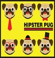 Hipster Pug Flat Cartoon vector image vector image