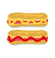 hot dogs collection with sauce vector image