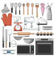 list major bakery equipments icon pack vector image