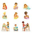 mom and dad feeding their babies set for label vector image