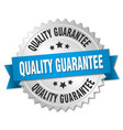 quality guarantee 3d silver badge with blue ribbon vector image vector image